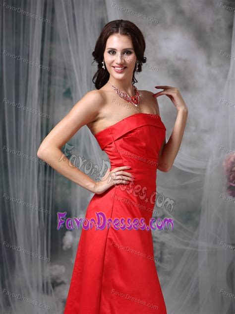 strapless long coral red taffeta maternity maid  honor