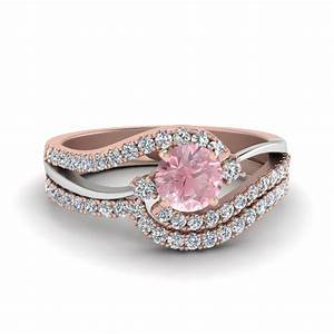 2 tone swirl round morganite with diamond wedding ring set for Two toned wedding ring sets