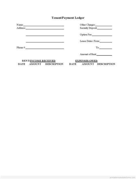 sample printable tenant payment ledger form sample real