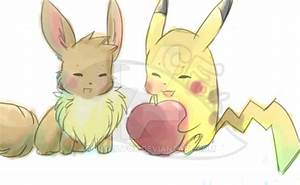 Pikachu and Eevee by FrightFox on DeviantArt