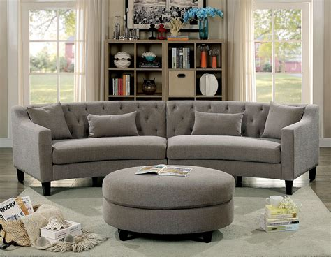 Rounded Back Sofa by Furniture Of America 6370 Rounded Grey Tufted Sectional Sofa