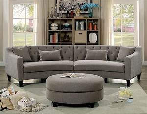 furniture of america 6370 rounded grey tufted sectional sofa With tufted sectional sofa