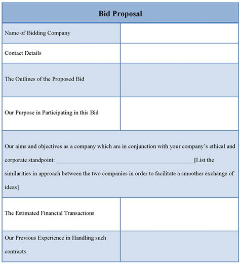 proposal template  bid   bid proposal