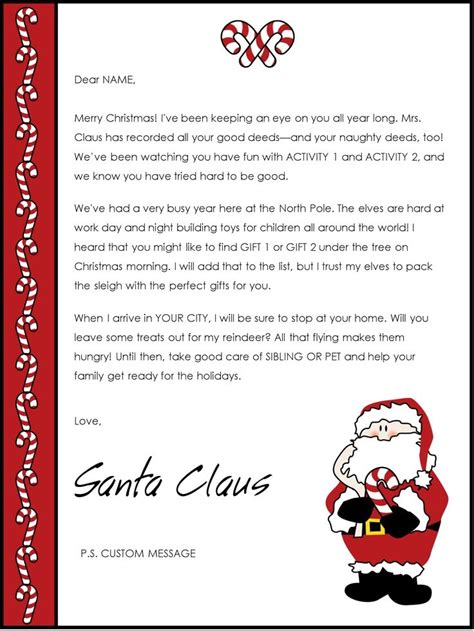 letter from santa template free printable letters from santa claus templates letter 28669