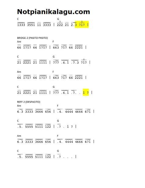 not angka lagu justin bieber not angka lagu despacito piano pianika luis fonsi ft yankee