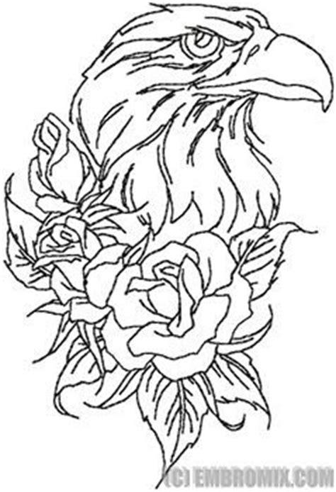 Eagle and Roses tattoo embroidery