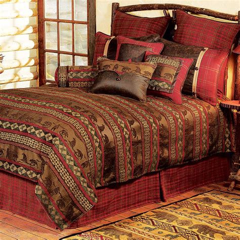 Rustic Bedding Queen Size Cascade Lodge Bed Setblack