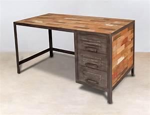 Bureau En Metal : bureau 140cm en bois recycl s 3 tiroirs m tal industryal ~ Nature-et-papiers.com Idées de Décoration