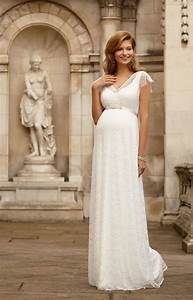 Kristin maternity wedding gown long ivory maternity for Maternity dresses for wedding