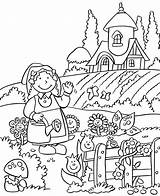 Coloring Pages Garden Tractor Farm Vegetable Gardening Books Animal Printable Flower Colouring Story Sheets Ea sketch template