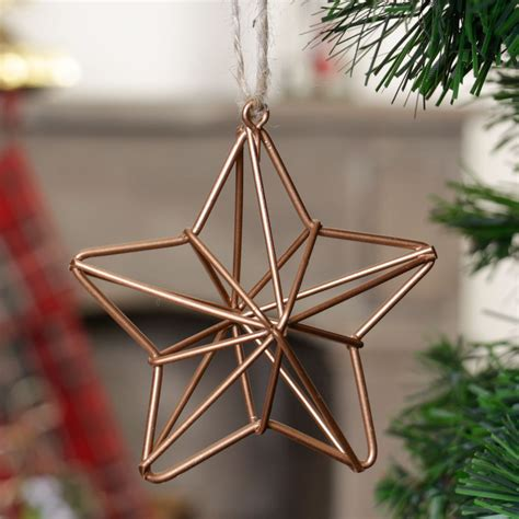 wire copper star christmas tree decoration