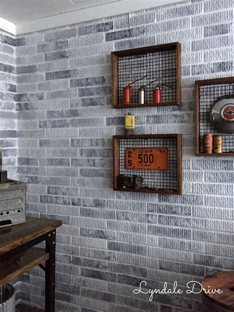 painted faux brick walls   mancave
