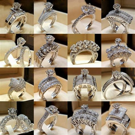 fashion women white gold plated crystal engagement wedding