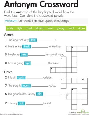 antonym crossword worksheet education com