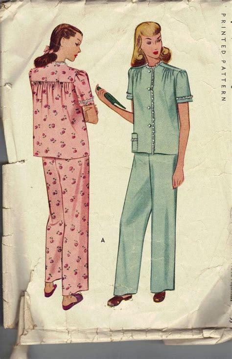 vintage  womens pajamas pattern mccall  size