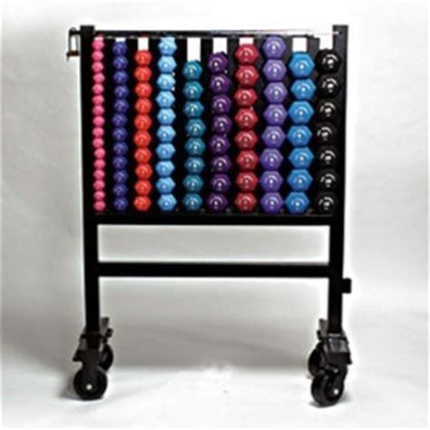 neoprene dumbbell set  rack  wheels