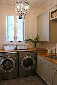 gray cottage laundry room with wood countertops cottage With best brand of paint for kitchen cabinets with wall art for laundry room
