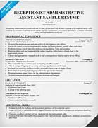 Sample Resume Receptionist Administrative Assistant Free Resume Free Samples Of Resumes For Receptionist Resume Receptionist Resume Medical Receptionist CV Template Job Description Resume Sample