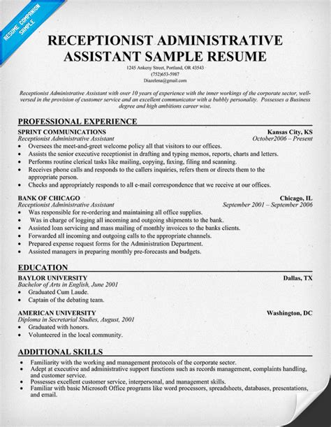 administrative cover letter sample resume receptionist administrative assistant free