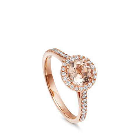 morganite diamond halo ring 14ct rose gold astley clarke
