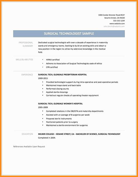 Surgical Tech Resume by Surgical Technician Resume Template Vvengelbert Nl