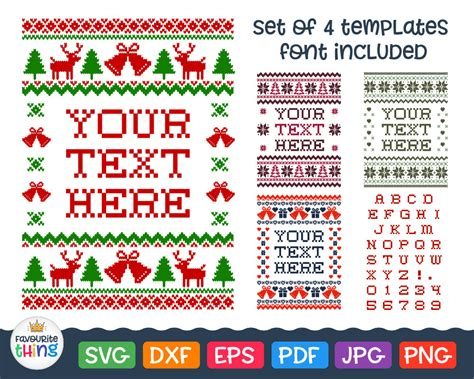 Seamless christmas traditional pattern with deers and snowflakes. Christmas Ugly Sweater Svg Cross stitched Font Svg Vinyl ...