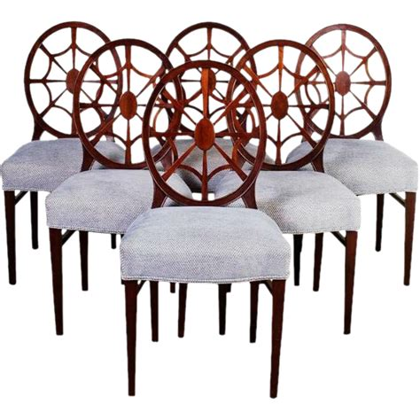 antique mahogany spider back set of 6 dining chairs from