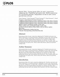 latex templates academic journals With plos one word template