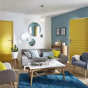 Coussin Style Scandinave : salon sejour bleu jaune orange am nagement salon en 2019 pinterest ~ Teatrodelosmanantiales.com Idées de Décoration