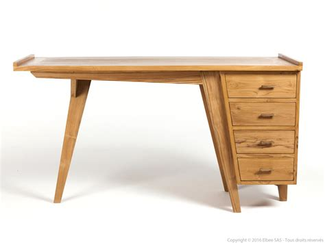 delamaison bureau bureau 4 tiroirs en teck silke pas cher bureau