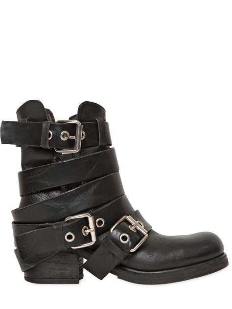 womens biker boots strategia 50mm belted leather biker boots in black lyst