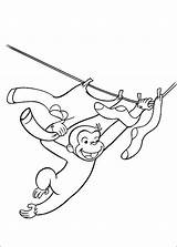 Coloring Curious George Clothesline sketch template