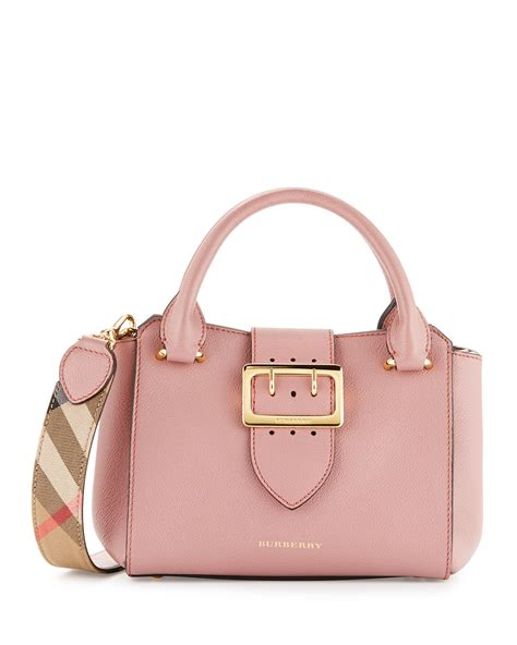 burberry buckle small leather tote bag dusty pink neiman marcus