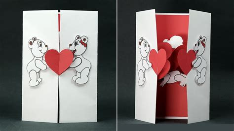 handmade valentine diy card kissing couple pop  card