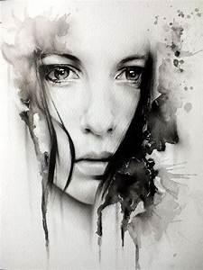 Peinture En Noir Et Blanc : peinture un portrait l 39 aquarelle en noir et blanc art peintures et dessins pinterest ~ Melissatoandfro.com Idées de Décoration