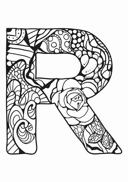 Alphabet Coloring Pages Letter Zentangle Printable Mandala