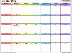 October 2019 Calendar Template 2018 calendar with holidays