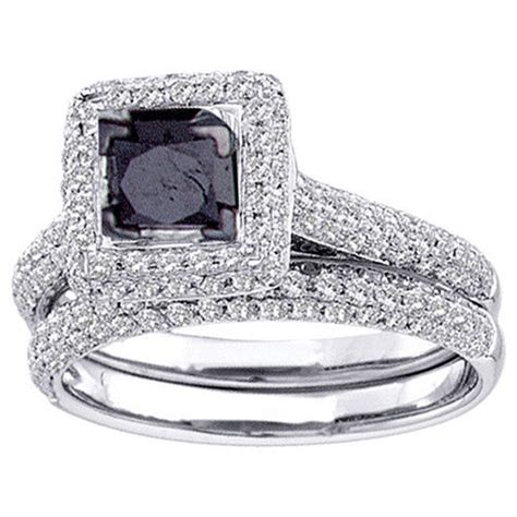 and co wedding rings womens black engagement halo ring wedding band 7998