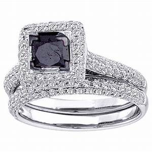 Womens black diamond engagement halo ring wedding band for Womens black diamond wedding rings