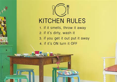 Kitchen Rules Text Quotes Wall Stickers Adhesive Wall Sticker