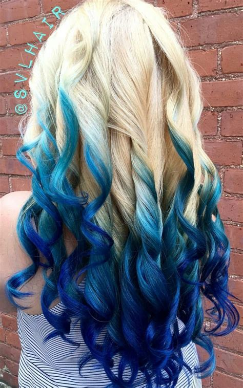 Blonde Royal Blue Ombre Dyed Hair Color Blue Ombre Hair
