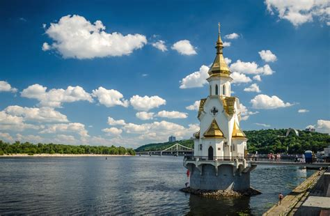 ukraine kiev church  st nicholas embankment dnepr river