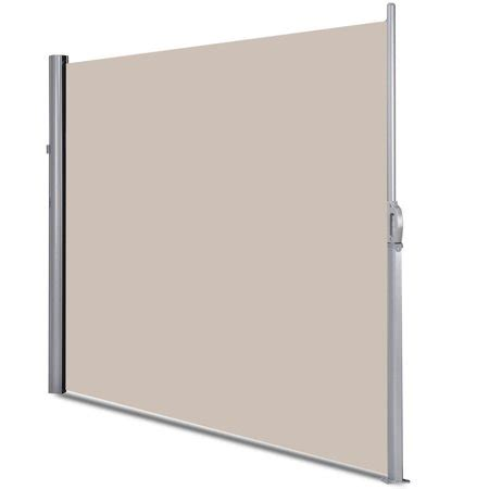 gymax    patio retractable folding side awning screen privacy divider beige