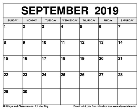 september  calendar printable templates