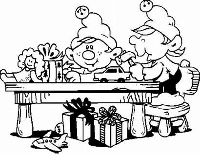 Workshop Santa Elves Coloring Elf Pages Christmas