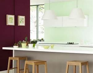 Salon Vert D Eau : couleur cuisine peinture en contraste prune et vert d 39 eau ~ Zukunftsfamilie.com Idées de Décoration