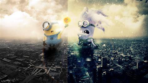 good  bad minions  sunny  rainy city wallpaper