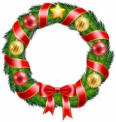 Wreath Christmas Clip Clipart Wreaths Bow Decorations