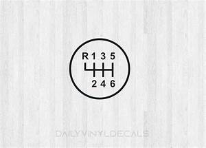 6 Speed Gear Shift Decal - 6 Speed Diagram