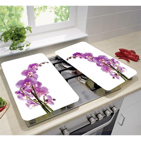plan de travail cuisine bambou wenko set de 2 couvres plaques universels fleur d 39 orchidée